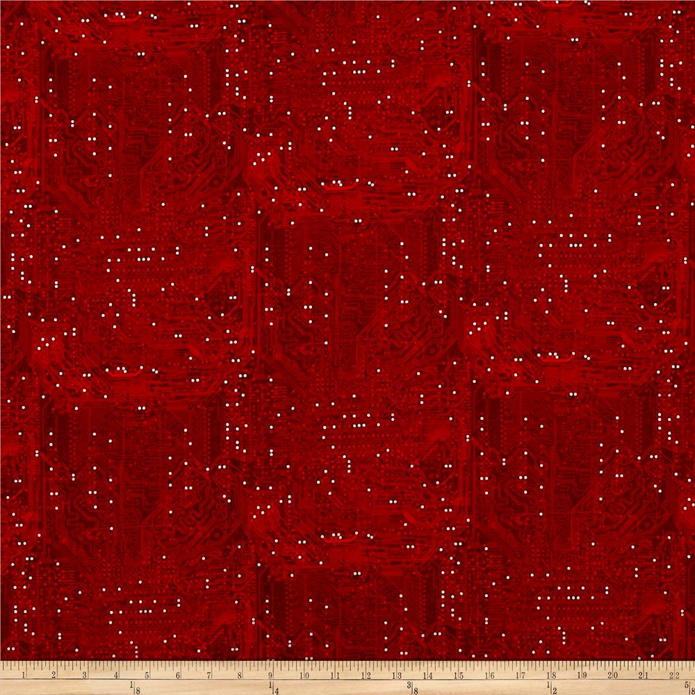Silver Circuits Metallic Tonal Circuit Red