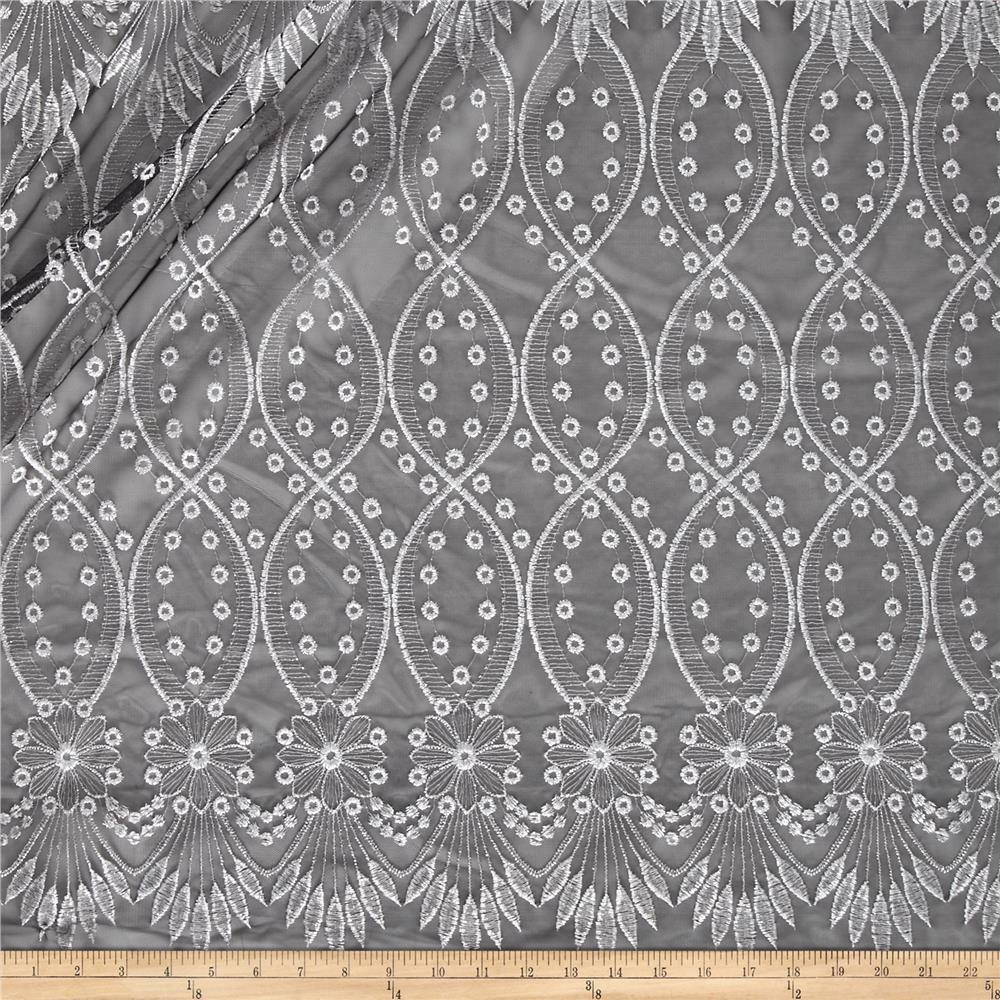 Embroidered Netting Double Border Black/Silver