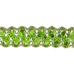 "1 1/4"" Nikki Sequin Metallic Braid Trim Roll Lime"