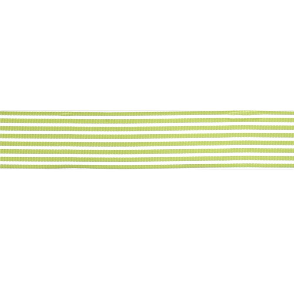 "May Arts 1 1/2""  Grosgrain Stripes Ribbon Spool Celery/White"