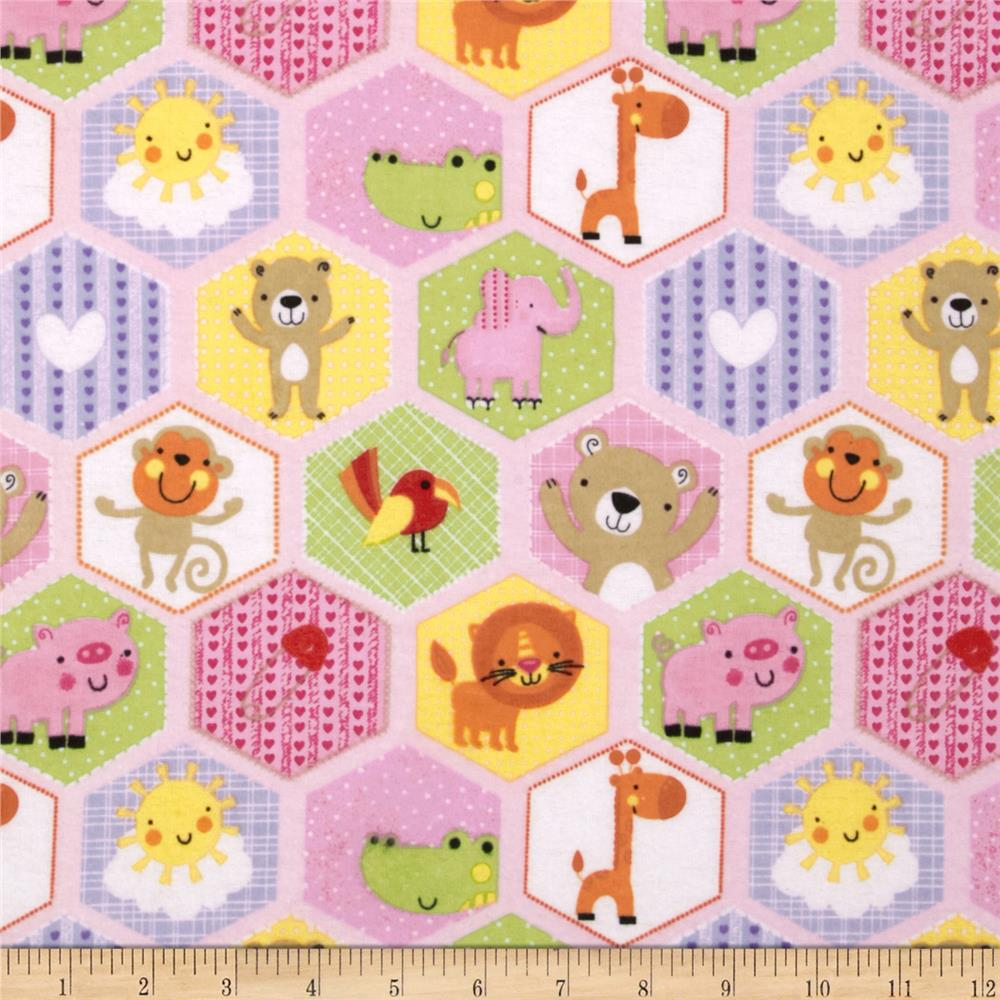 Flannel Hexigon Animals Pink