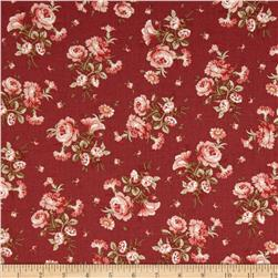 Treasures By Shabby Chic Vintage Rose Medium Floral Bouquet Dark Red