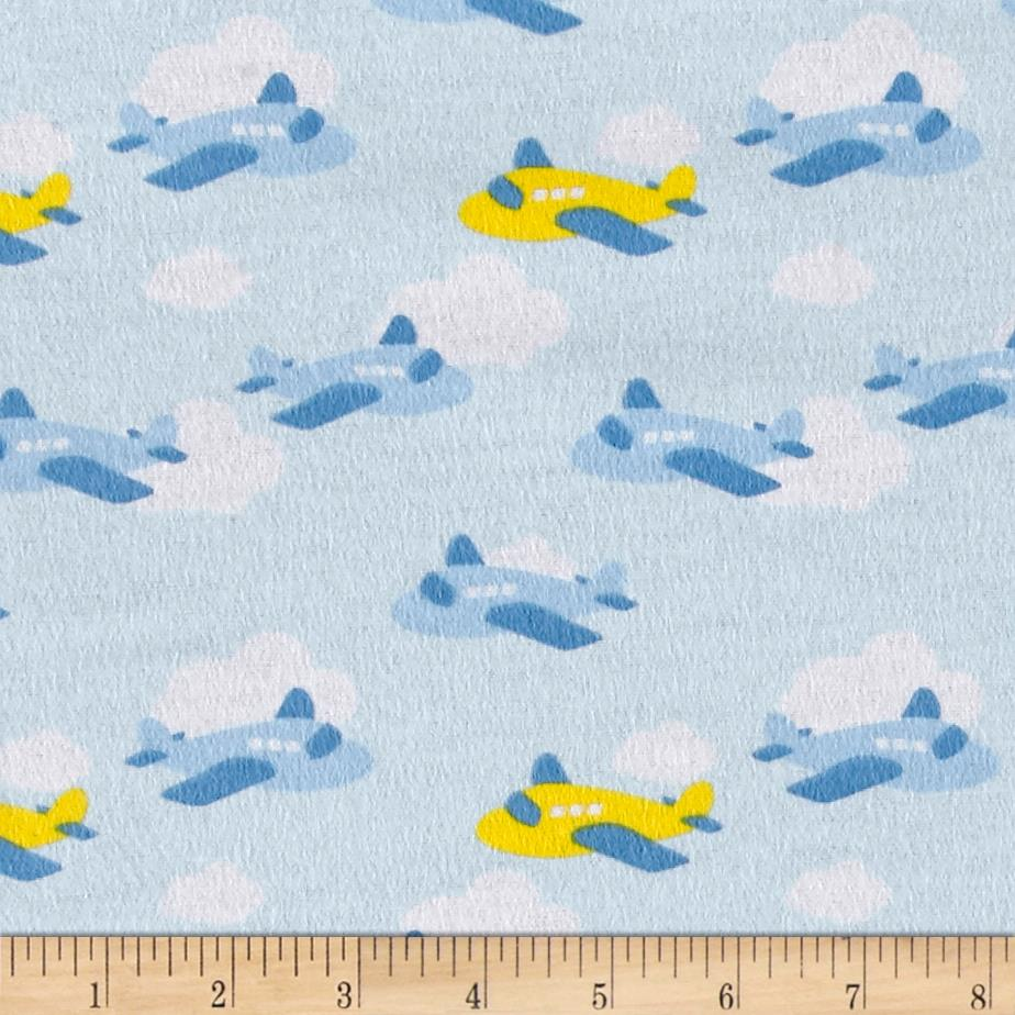 Airplane flannel light blue yellow discount designer for Airplane print cotton fabric