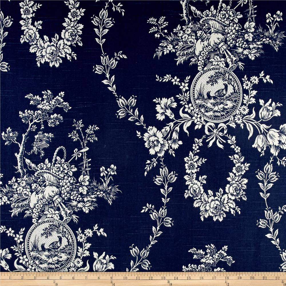 Waverly country house toile indigo blue linen discount for Waverly wallpaper