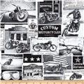 Timeless Treasures Motorcycle Newsprint