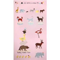 Kokka Animal Runway Panel Pink