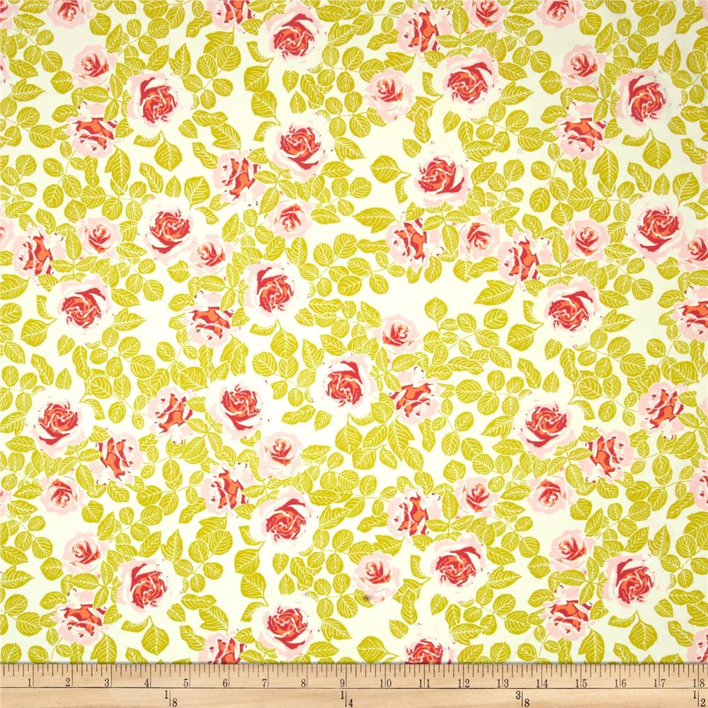 Art Gallery Cultivate Jersey Knit Pruning Roses Citrus Fabric