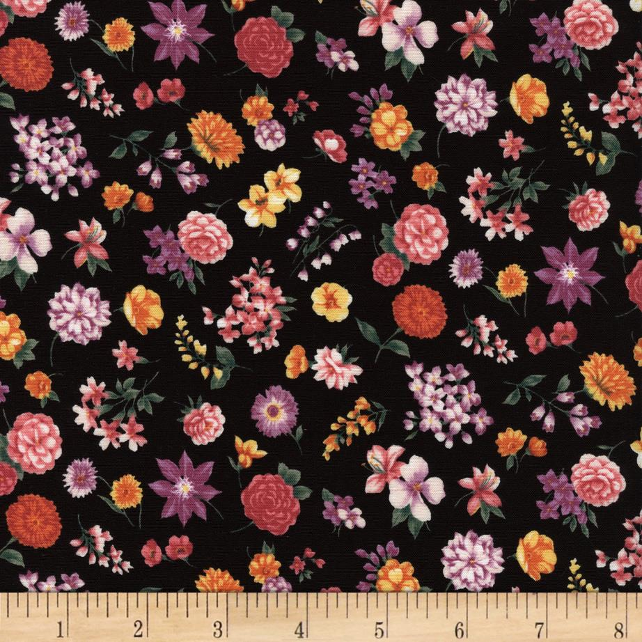 Timeless Treasures Chloe Calico Florals Black