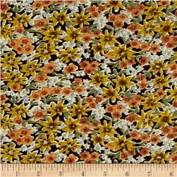 Corduroy Orange flowers on Brown