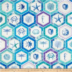 By The Sea Hexagon Tiles Sea Blue