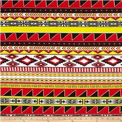 Soft Jersey Knit Aztec Stripe Red/Yellow/Black