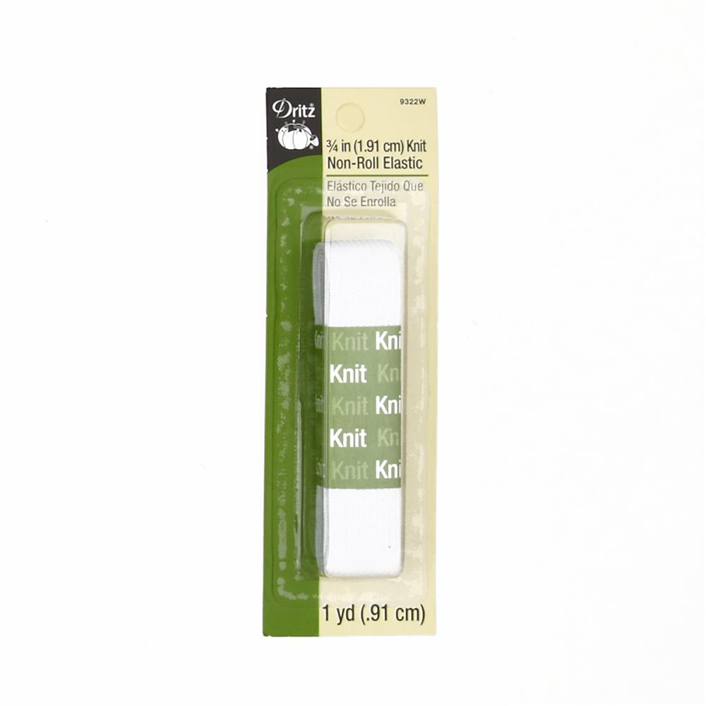"Knit Non-Roll Elastic 3/4""X1yd-White"