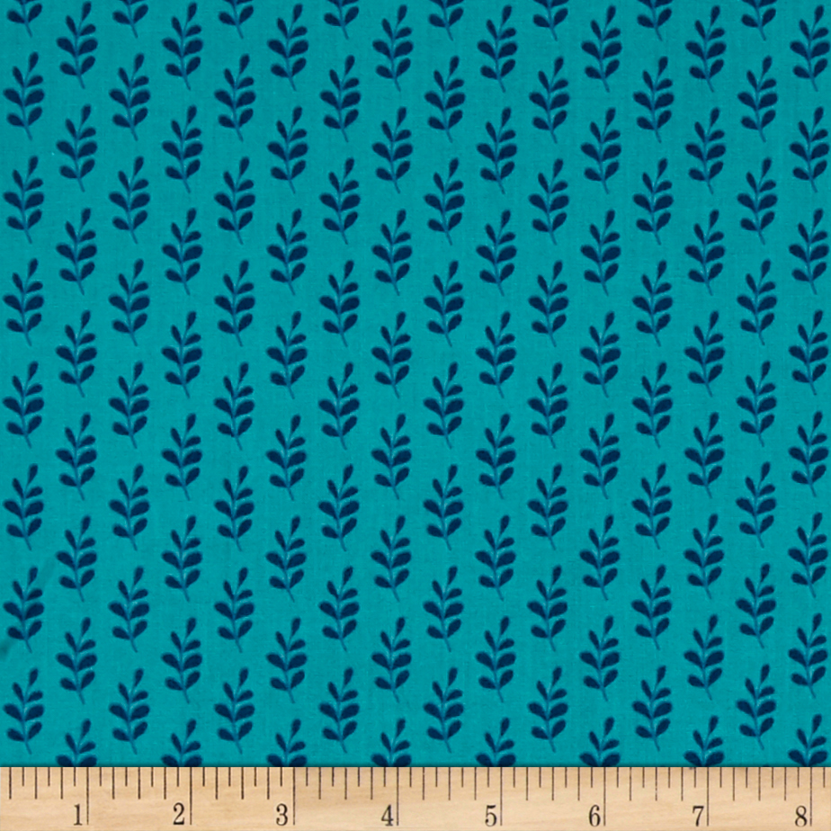 Mamma & Me Leaves Turquoise Fabric by Eugene in USA
