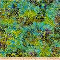 Indian Batik Cascades Swirl Circle Purple/Lime/Aqua