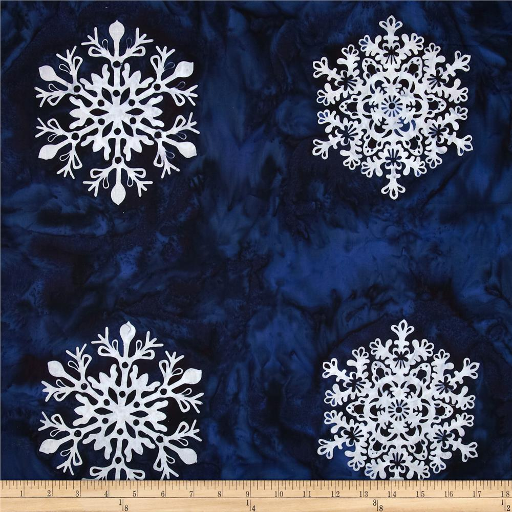 Bali Batiks Snowflake Panel Blueberry