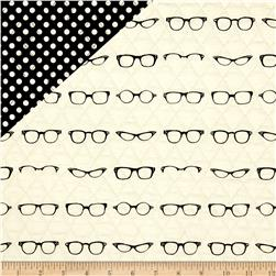 Riley Blake Double Sided Quilted Glasses Off White