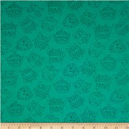Flockie Darling Tone on Tone Owls Turquoise