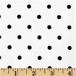 Stretch Poplin Polka Dot White/Black