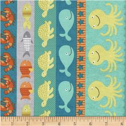 Timeless Treasures Splish Splash Sea Creatures Stripe Multi