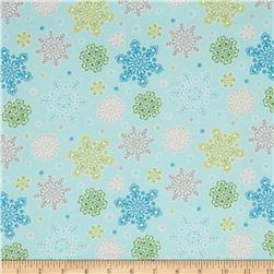 Winter Warmth Flannel Fancy Snowflakes Light Blue