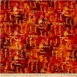 Anthology Batik Words Yellow/Rust
