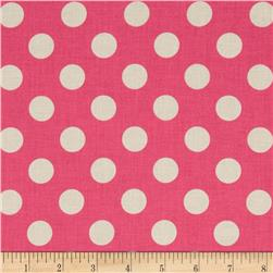 Riley Blake Le Creme Basics Medium Dots Hot Pink/Cream