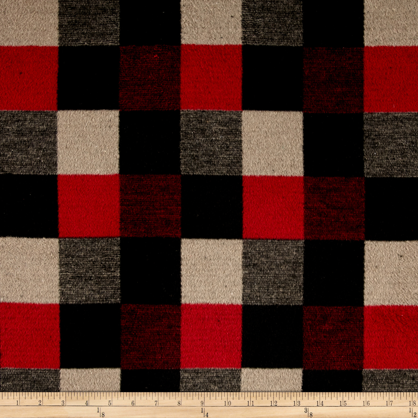 Brushed Wool Blend Check Red/Black/Tan Fabric by Fabric Merchants in USA