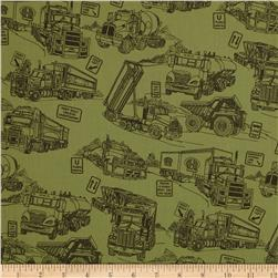 110'' Wide Quilt Back Mighty Movers Green