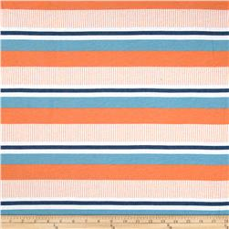 Designer Rayon Blend Jersey Knit Stripes Orange/Blue Fabric