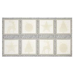 "Kaufman Winter Grandeur Metallic 23.5"" Block Panel Silver"