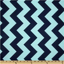 Riley Blake Chevron Large Aqua/Navy Fabric