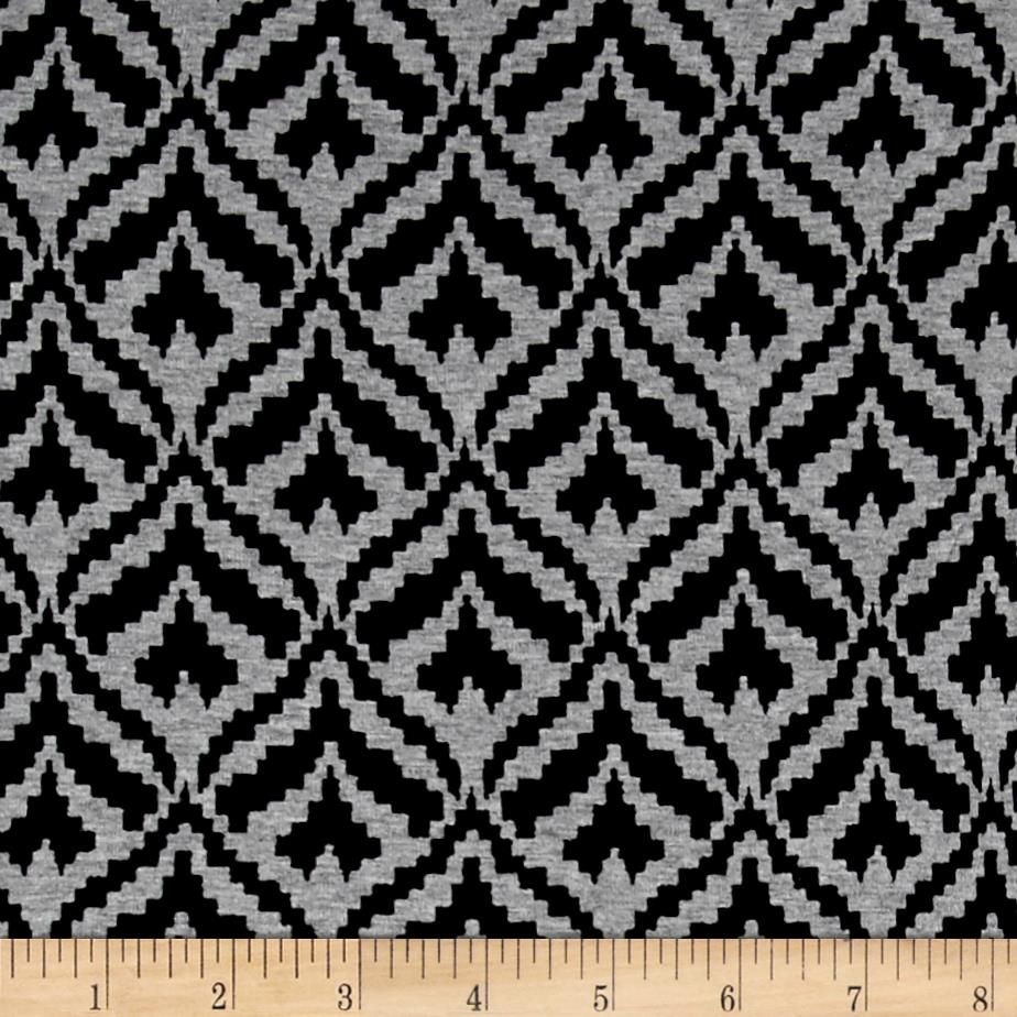 Telio Dakota Stretch Rayon Jersey Knit Peacock Print Black/Grey Fabric By The Yard