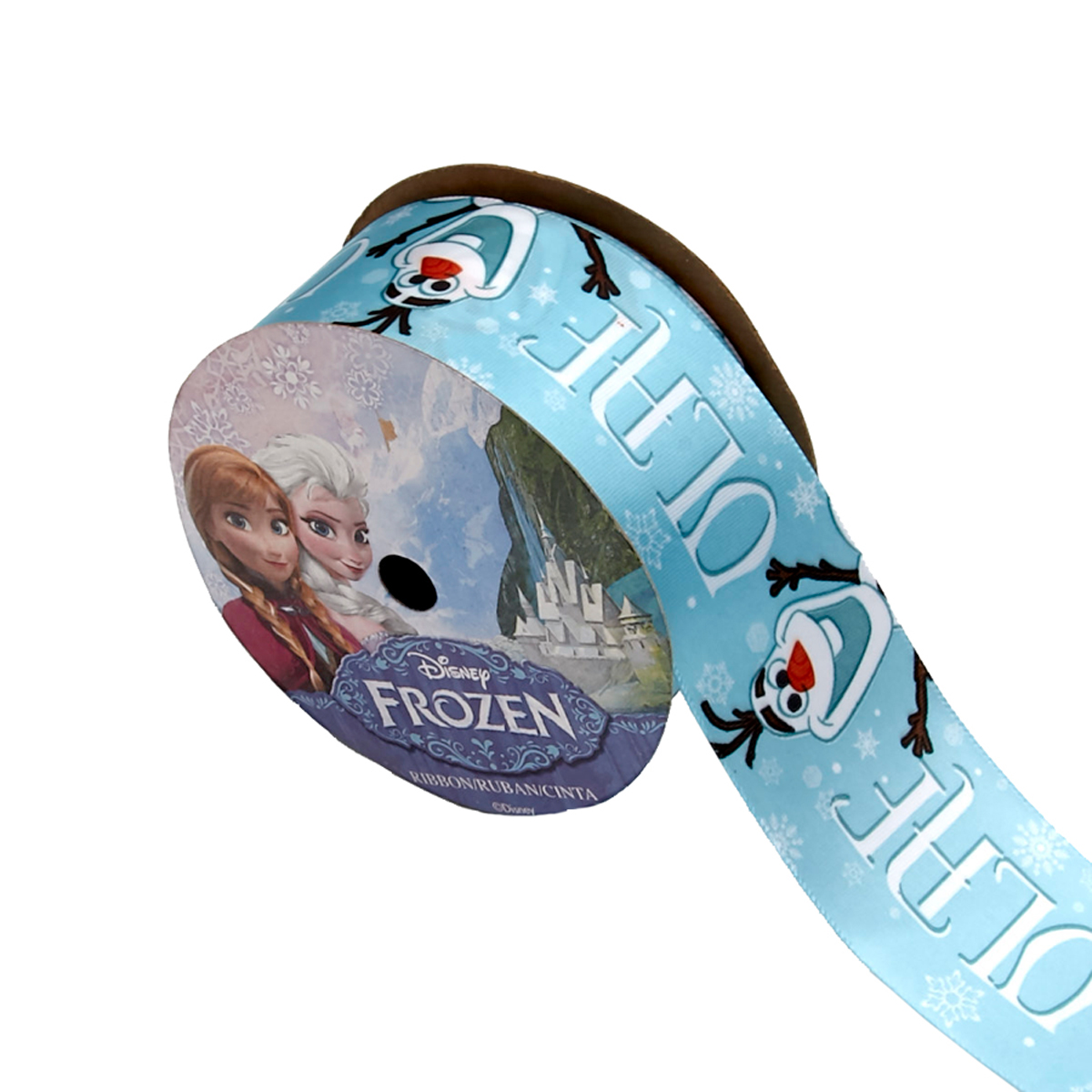 1 1/2'' Frozen Ribbon Olaf Name Blue 3YD Spool by Stardom Specialty in USA