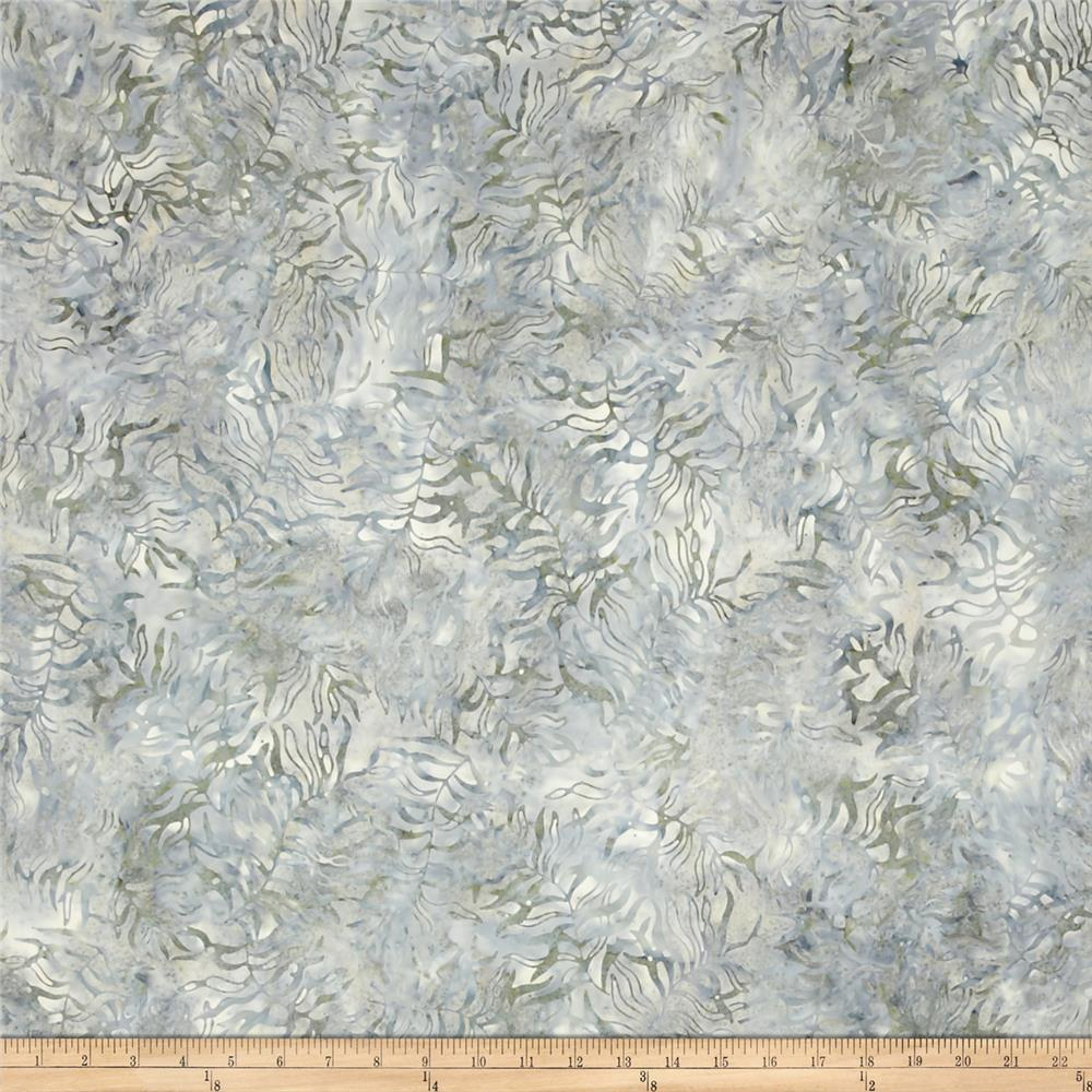 "106"" Wide Wilmington Batik Quilt Back Bamboo Leaves Gray"