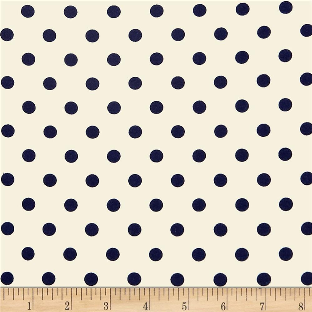 1bec193819f Double Brushed Poly Jersey Knit Small Polka Dot Navy/Ivory ...