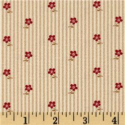 Little House On The Prairie Flower On Stripe Brown