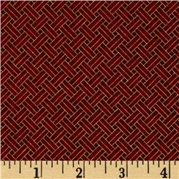 Oriental Traditions Metallic Trellis Weave Red