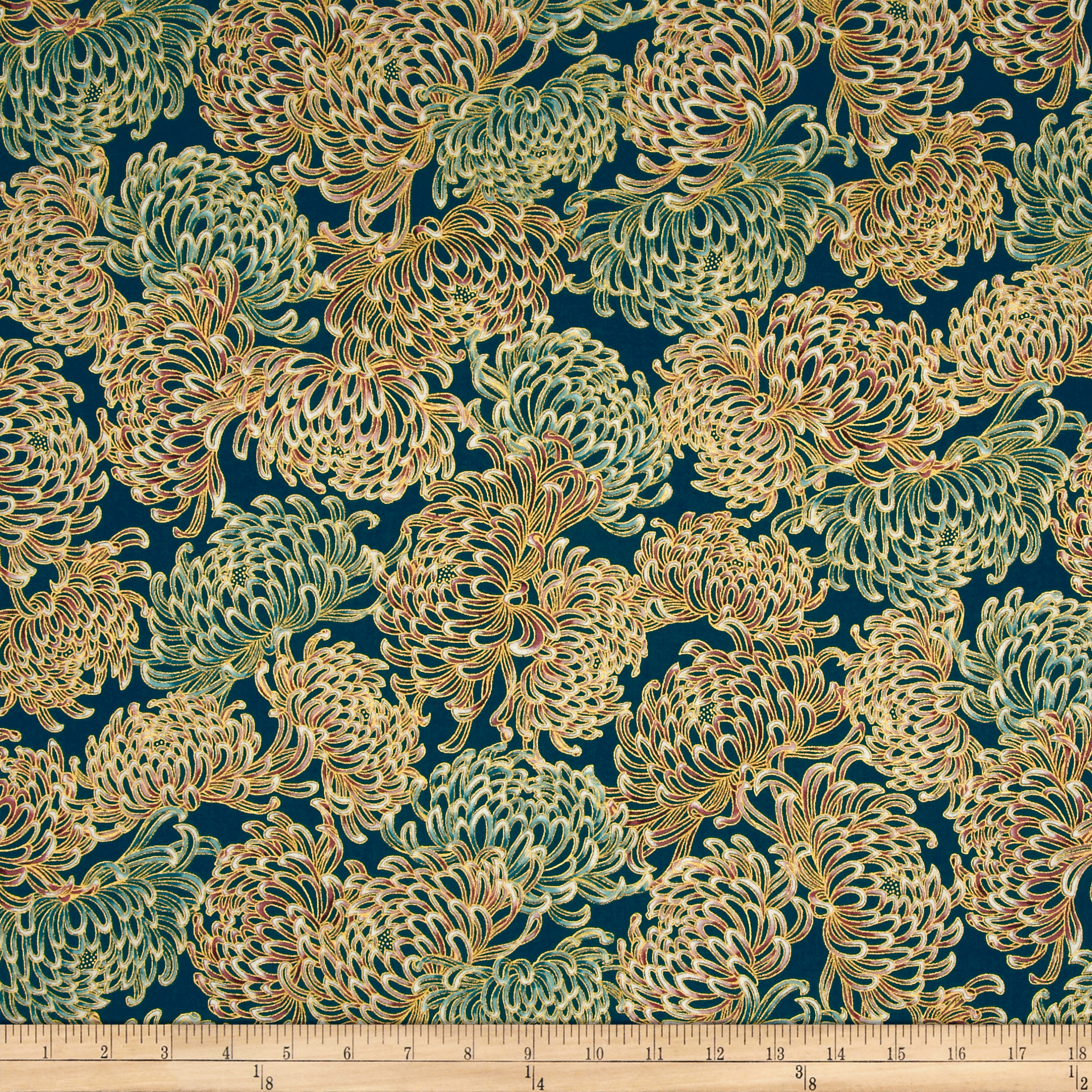 INOpets.com Anything for Pets Parents & Their Pets Kaufman Imperial Collection Garden Chrysanthum Garden Metallic Fabric