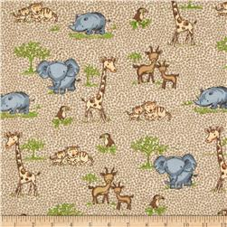 Comfy Flannel Safari Animals Tan Fabric