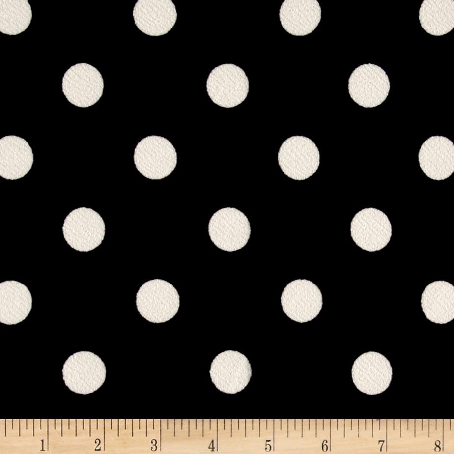 Liverpool Double Knit Print Dots Black Ground/White