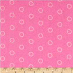 Mystic Forest Flannel Stitched Circles Pink