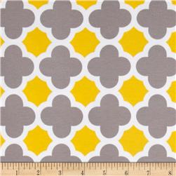 Riley Blake Quatrefoil Knit Grey/Yellow