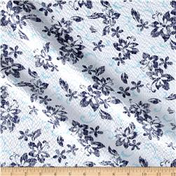 Kaufman Sevenberry Plisse Collection Tropical Flowers White