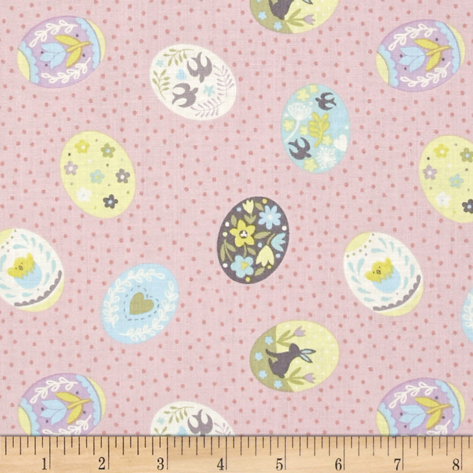 Lewis & Irene Salisbury Spring Painted Eggs Pink Fabric by E. E. Schenck in USA
