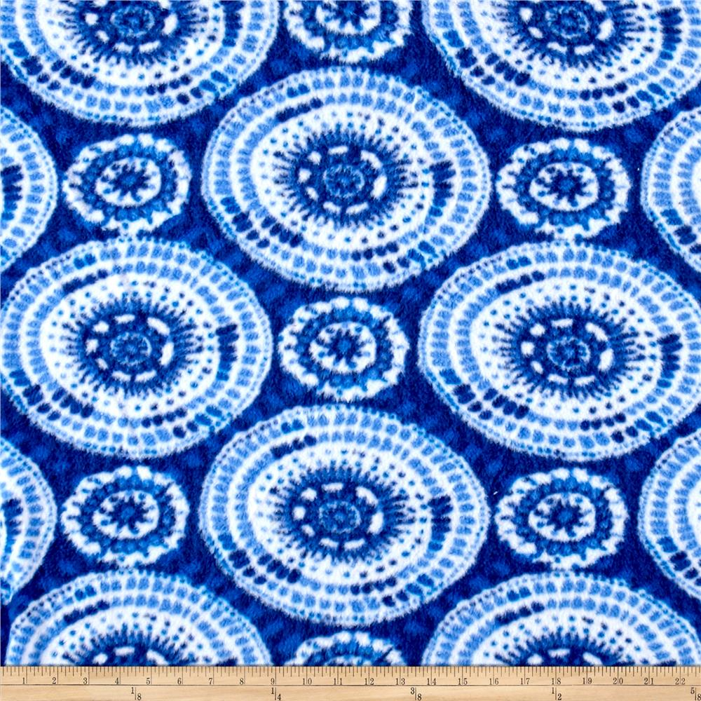Fleece Print Abstract Geos Blue Fabric By The Yard
