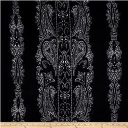 Stretch ITY Knit Monochrome Paisley Black Ivory