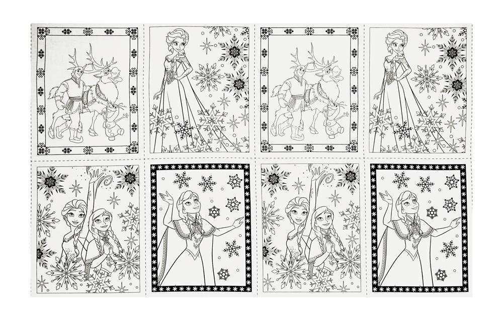 Disney Frozen Book Pages 24'' Panel White Fabric By The Yard
