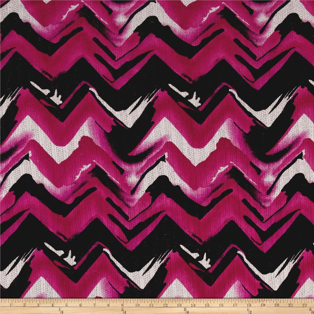 Sweater Knit Abstract Chevron Magenta/ Black