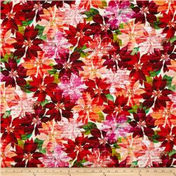 Bright Christmas Digital Printed Packed Poinsettias Pomegranate