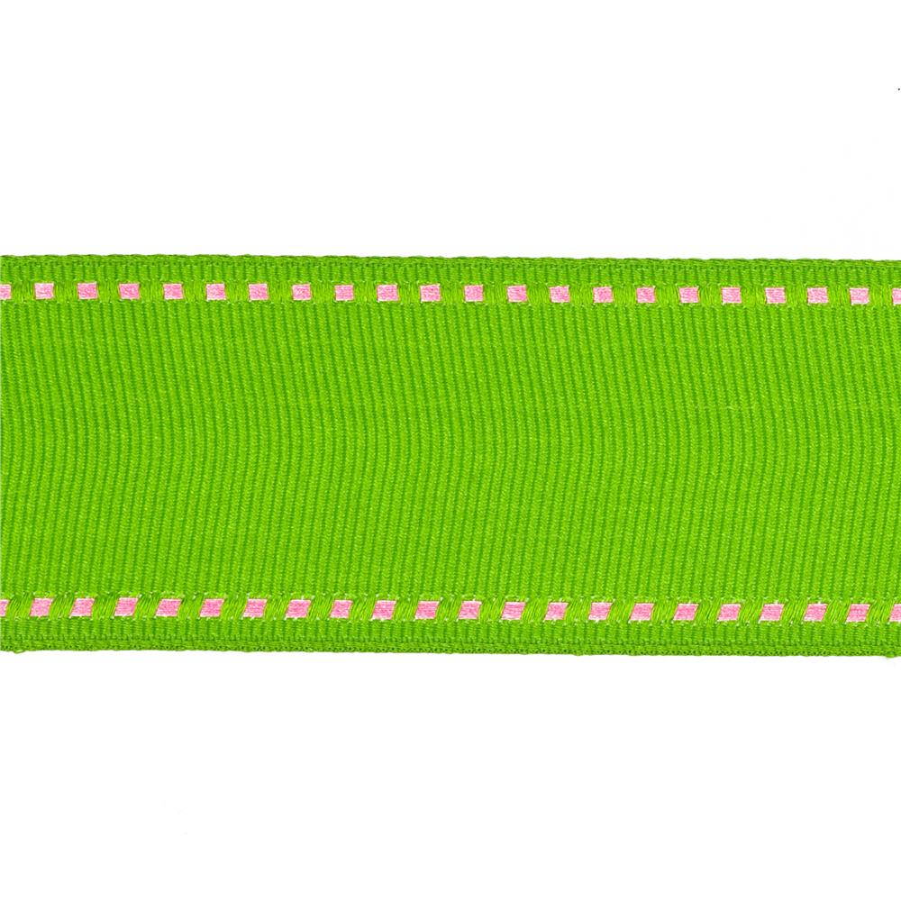 "May Arts 1 1/2"" Grosgrain Stitched Edge Ribbon Spool Parrot Green/Pink"